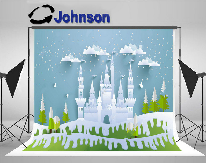 frozen castle snowy winter hill princess clouds tree backdrop Vinyl cloth High quality Computer print christmas background