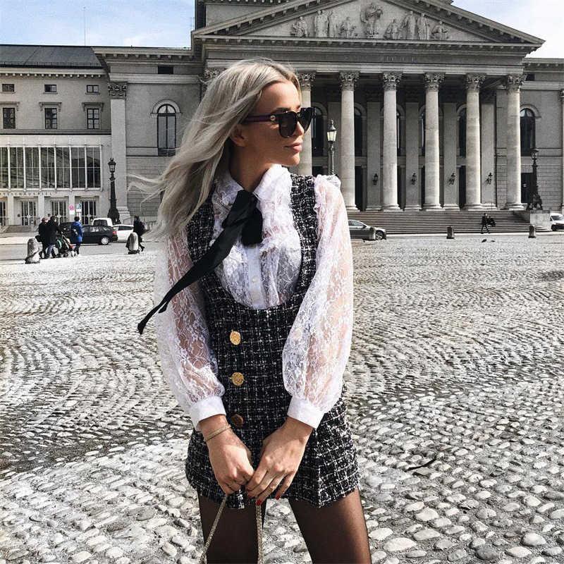 Осенне-зимнее клетчатое обтягивающее твидовое платье двубортное платье на молнии сзади уличная одежда трапециевидной формы Vetement Femme британский стиль