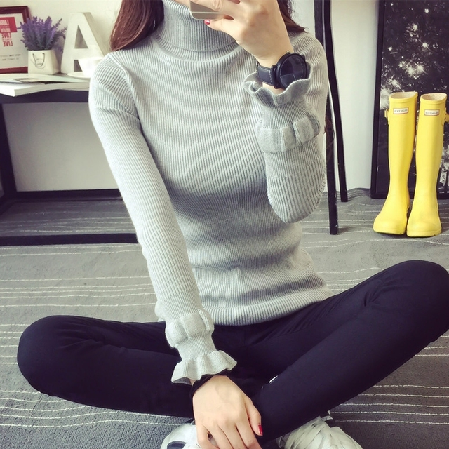 Women Sweater 2017 Winter Autumn Twisted Flowers Knitted Sweaters Warm Thincken Turtleneck Pullover Long Sleeve Women Sweater