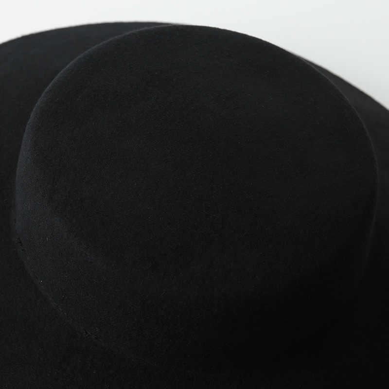 e4a08a21ada09 ... Women Classic Vintage Audrey Hepburn Big Black Wool FLOPPY HAT British  elegance Style of felt top