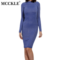 MCCKLE Sexy Elegant Women S Autumn Spring Dresses Long Sleeve Casual Lurex Bodycon Dresses Elastic Sheath