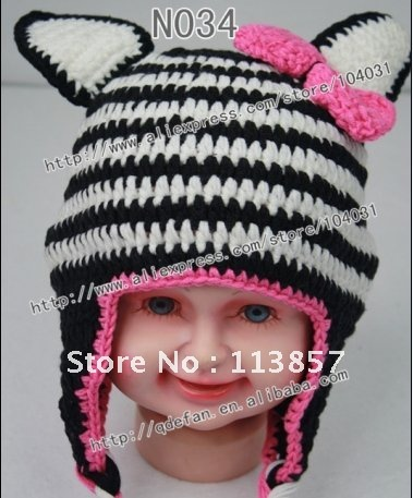 Wholesale100 Cotton Baby Zebra Hat Crochet Pattern Handmade Animal