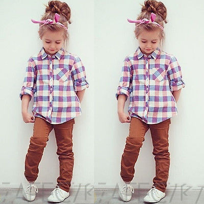 2015 NEW Autumn Baby Kids Little Girls Tops Long Sleeve Shirts Blouse UK