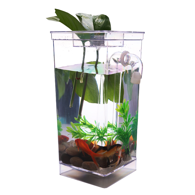 New Design Transparent Creative Self Cleaning Tank with LED Aquarium Lovely Cute Ecological Fishbowl For Kid's Gifts