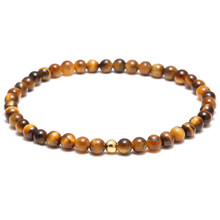 Mcllroy 4mm Tiger Eye Buddha Bracelets For Men Natural Stone Elastic Rope Bracelet charms men jewelry friend pulseira masculina(China)