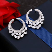 Big Fashion Trend Earrings High End Temperament Korean Personality Round Earrings Zircon Ear Jewelry Silver Needles
