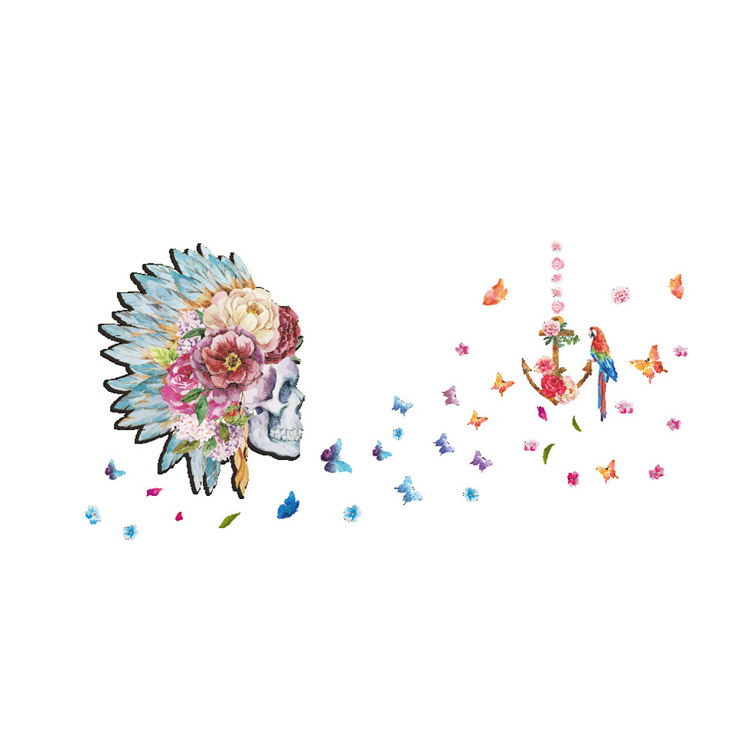 Creative New Image Painting Skull Flower Head Butterfly Parrot Home Decal Wall Sticker Feather Flora Sofa Background Wall Art