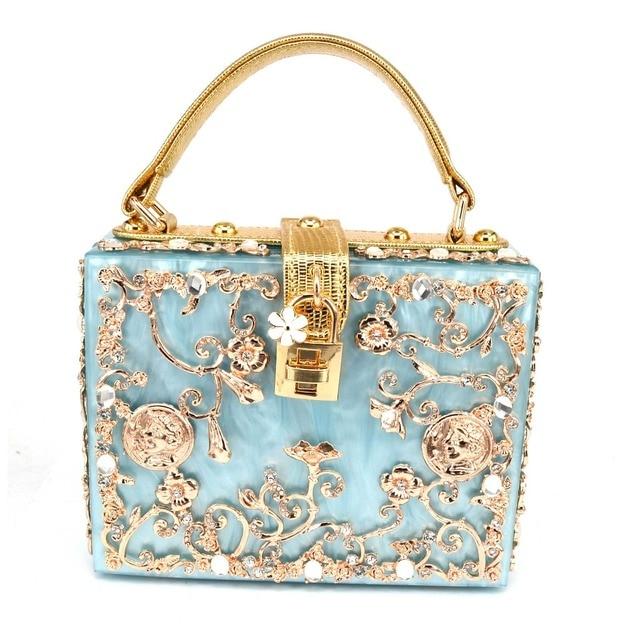 Fashion Prom evening bag diamond flower Clutch Bag hollow relief Acrylic luxury handbag banquet party purse women's Shoulder bag