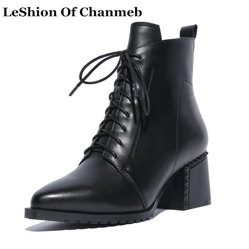لينة حقيقية الجلود دراجة نارية الأحذية أكبر حجم 42 المرأة الأسود الدانتيل يصل اللباس الأحذية تان الخريف الشتاء أحذية السيدات حذاء من الجلد-في أحذية الكاحل من أحذية على  مجموعة 1