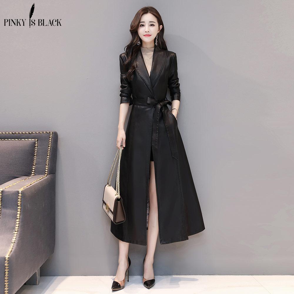 PinkyIsBlack X-Long   Leather   Jacket Women Fashion Female Plus Size 4XL Turn Down Collar Single Button Belt   Leather   Coat Outerwear