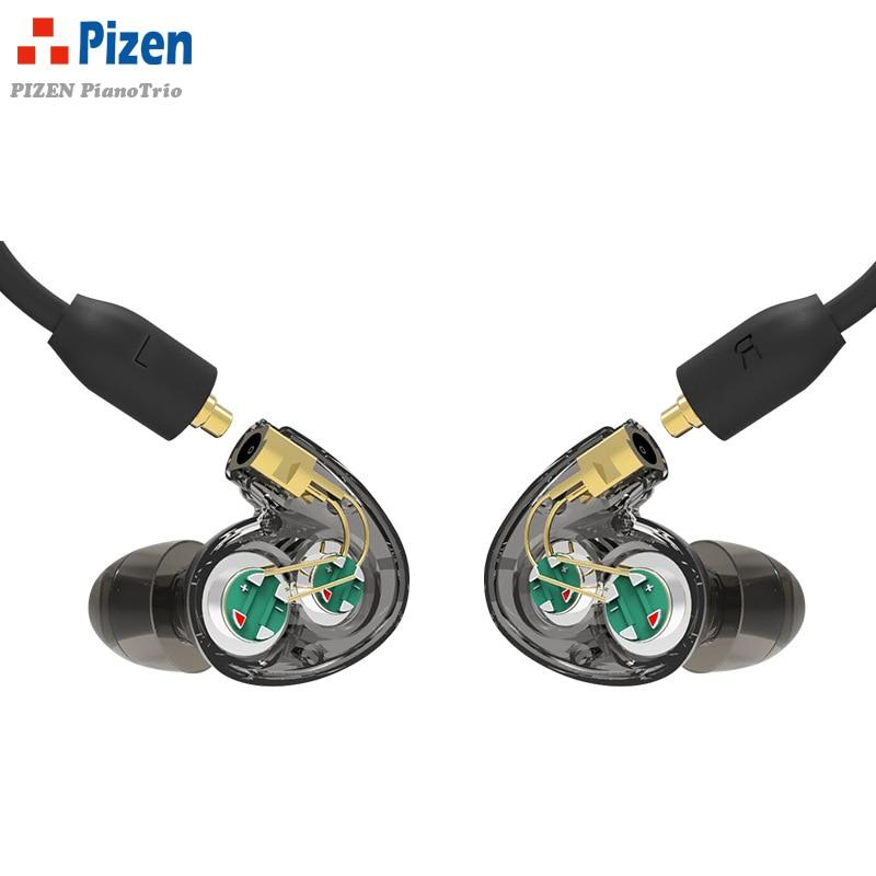 4in1 PIZEN pianotrio Dual fone de ouvido Dinâmico motorista dentro Do Esporte Fones de Ouvido Fones De Ouvido com mic cabo mmcx para se215 shure se535 se846