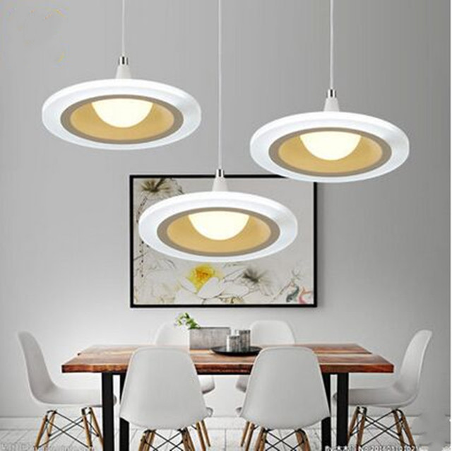 LED Restaurant Lights Chandeliers Three Modern Simple Round Living Room Dining Bar Table