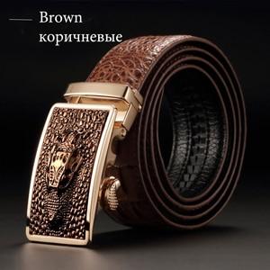 Image 4 - [DWTS] 2016 Designer Belts Men High Quality Mens Belts Luxury Crocodile Grain Belts Automatic Buckle Business Men Belt 90 125cm