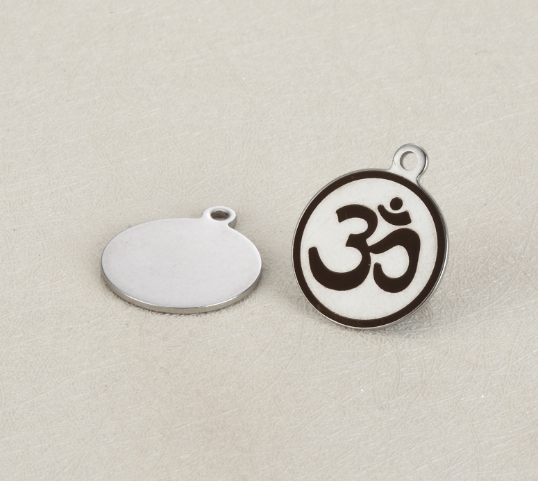 20pcs/lot 18mm Stainless Steel Charms Engraved Buddhist sign  For Diy Jewellery Making
