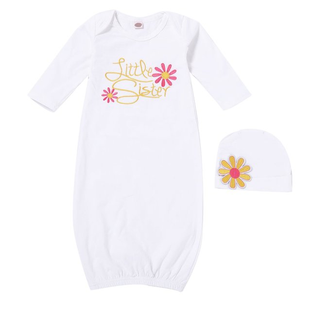Newborn Baby Girls Clothes Little Sister Printed Sleeping Gown with Hat Embroidered Long Sleeve Nightgown O-neck Sleepwear