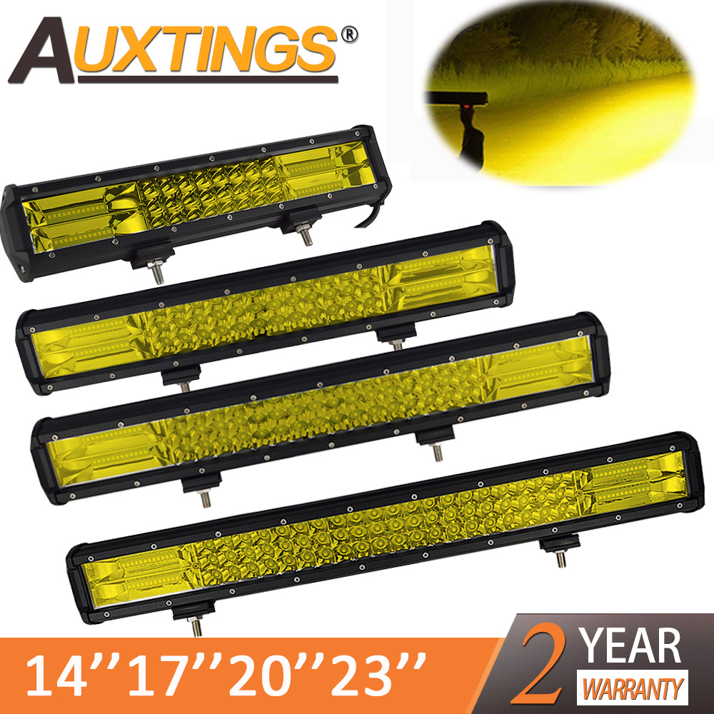 Auxtings 20 Inch Yellow Led 4x4 Offroad Light Bar For 4WD Trucks SUV ATV Trailer Beams Amber Work Driving Lights Fog Lamp