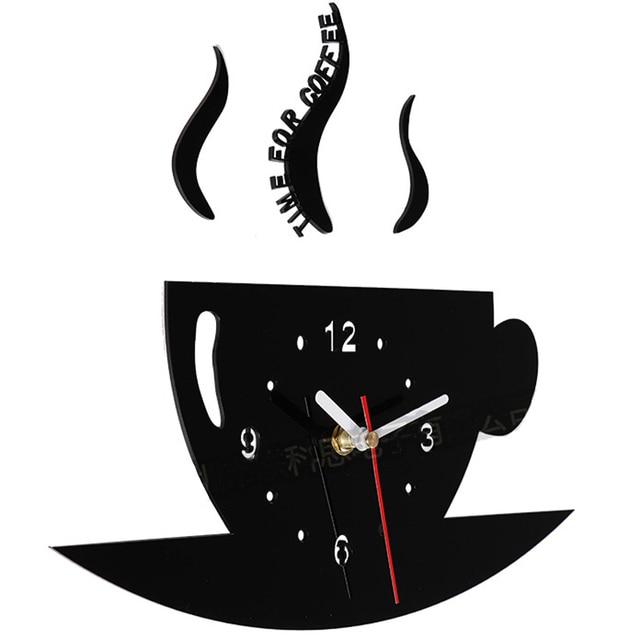 US $26.86 |Creativo FAI DA TE Orologio Da Parete Tempo del Caffè Tazza  Grande Cucina Orologi Stile moderno Acrilico Nero Coreano Orologio Adesivi  ...