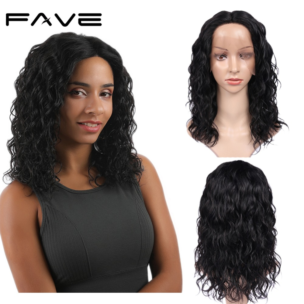 Lace Front Wig Lace Middle Part Natural Wave Brazilian Remy Human Hair Wig Natural Hairline Breathable And Adjustable FAVE Hair