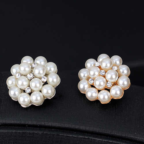 2019 Elegan Bros untuk Wanita Bunga Berlian Imitasi Imitasi Mutiara Bros Pin DIY Pengantin Pernikahan Bouquet Dekorasi Perhiasan