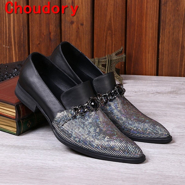 Choudory Black spiked Loafers Silver Glitter Mens Slip On Dress Wedding  Shoes For Men Chains Mens Leather shoe lasts 83e9b742aeea