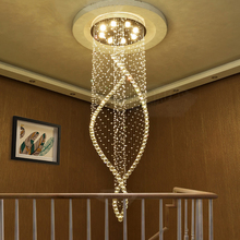 LED living room Crystal suspended lamps Modern Hotel Hall Pendant Lights stairs Big fixtures restaurant hanging lighting high quality modern crystal pendant lights lamp living room stairs led lamps
