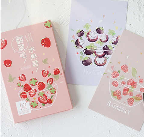 A166- Colorful Fruit Paper Postcard(1pack=30pieces)