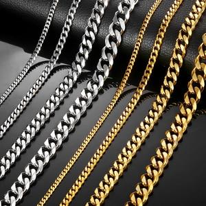 Image 5 - دافيلسي رجالي سلسلة قلادة الفولاذ المقاوم للصدأ الذهب الأسود الفضة اللون 2019 قلادة للرجال مجوهرات هدية 3 5 7 مللي متر LKNM07