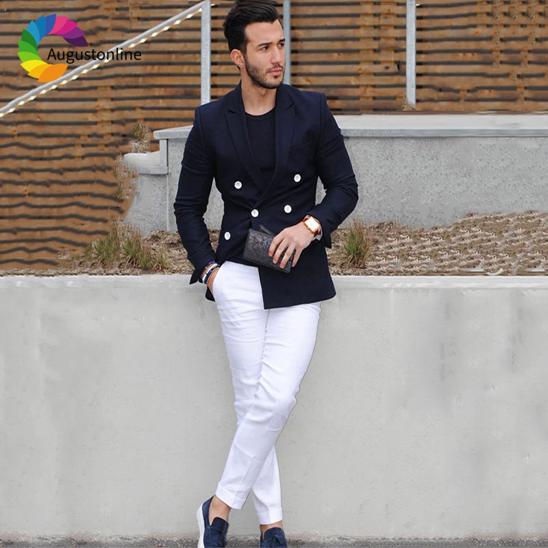 Navy Blue Classic Men Suits White Pants Business Blazer Double Breasted Costumes Slim Fit Terno Masculino 2Piece Party Prom Wear