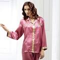 O envio gratuito de 2016 Novas Mulheres Sleepwear 100% Pijamas De Seda Reais Conjuntos de Calça 2 Pcs Senhoras Camisola Bordar Sólida Treino