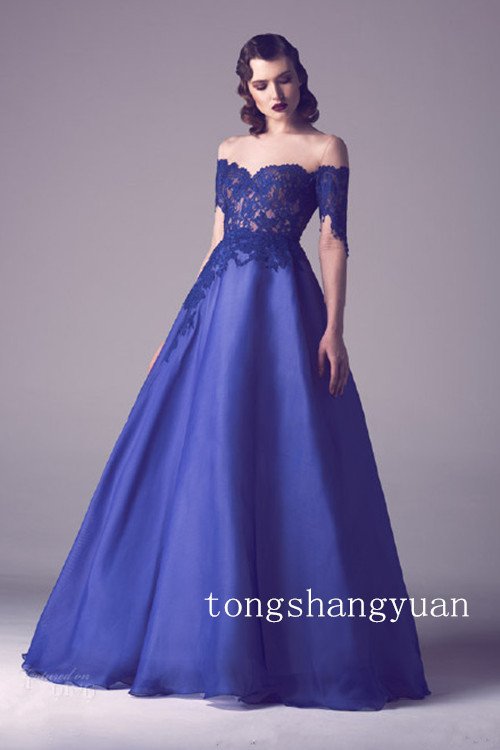 2015 Elegant Evening Dress Ball Gown Strapless Lace Applique Party ...