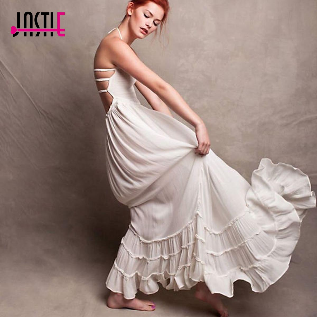bcdc3cb58fb7f US $42.37 |Aliexpress.com : Buy Jastie Boho Summer Crinkly Strapless Maxi  Dress Halter Tie Beach Dresses Raw Seam Hem Vestidos Low Strappy Back 8118  ...