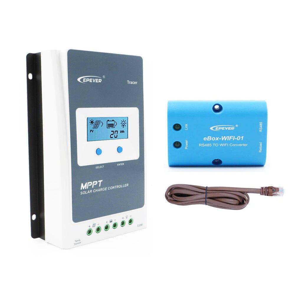 Tracer3210AN 30A MPPT regulator ładowania słonecznego bateria ogniwowa ładowarka kontrola 3210AN 3210A z WIFI mobilna aplikacja na telefon eBox-WIFI-01