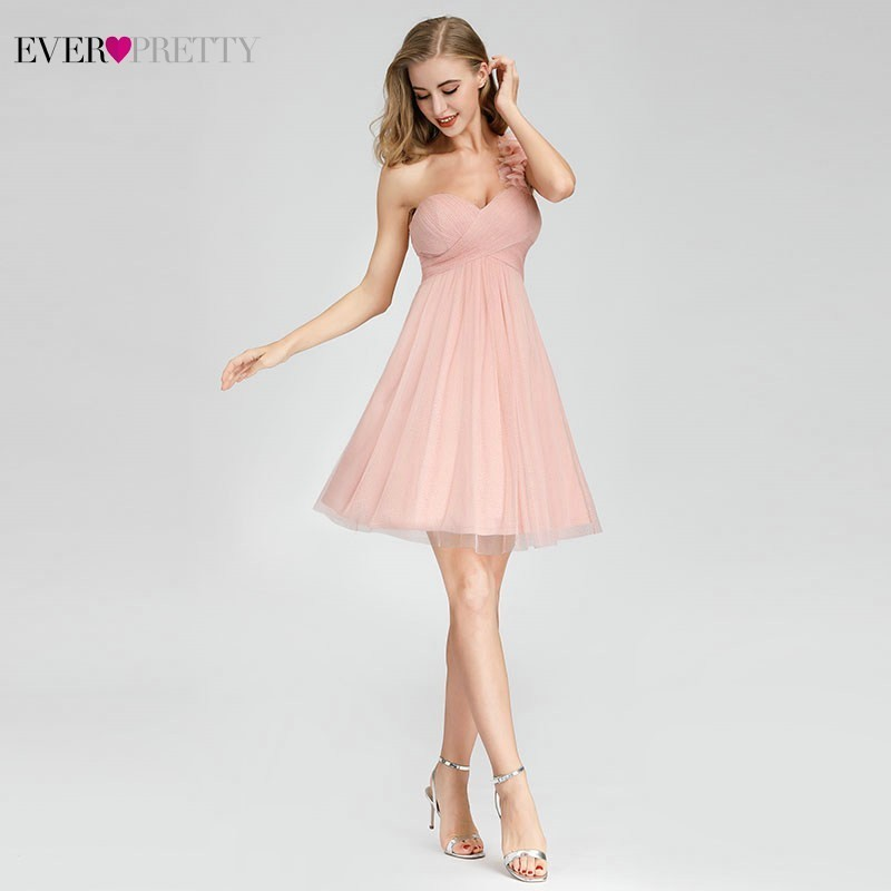 Ever Pretty Short Pink Bridesmaid Dresses Sweetheart One Shoulder Mini Wedding Guest Dresses EP03093PK Vestido Madrinha
