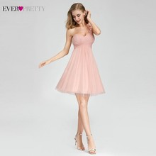 Ever Pretty Short Pink Bridesmaid Dresses Sweetheart One Shoulder Mini Wedding Guest EP03093PK Vestido Madrinha
