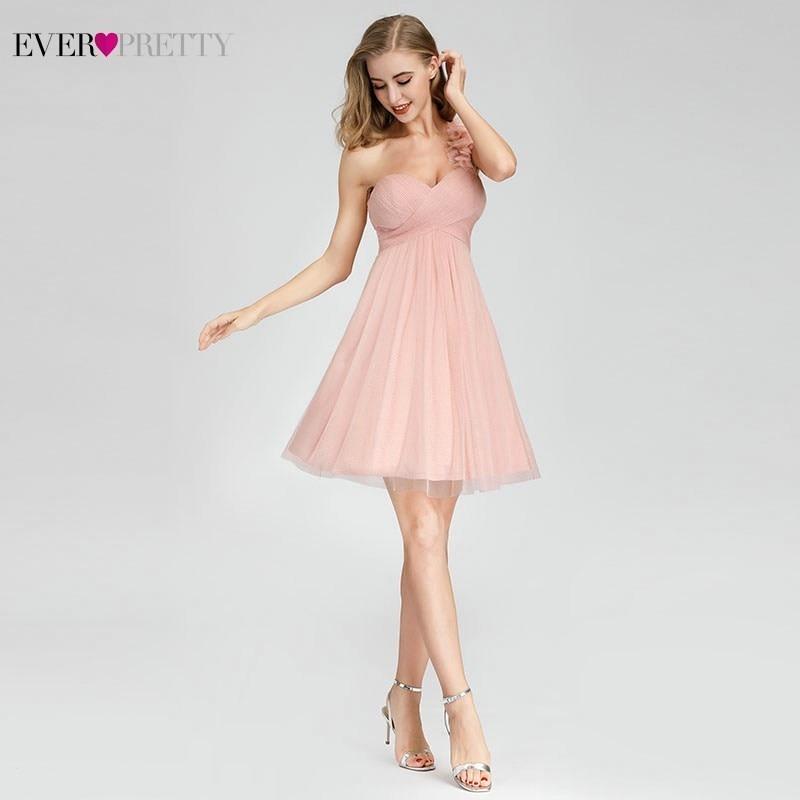 Ever Pretty Short Pink Bridesmaid Dresses Sweetheart One Shoulder Mini Wedding Guest Dresses EP03093PK Vestido Madrinha