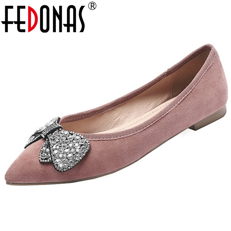 FEDONAS New 2019 Women Rhinestone Butterfly   Suede     Leather   Party Wedding Shoes Woman Pointed Toe Cute Comfort Casual Flat Shoes