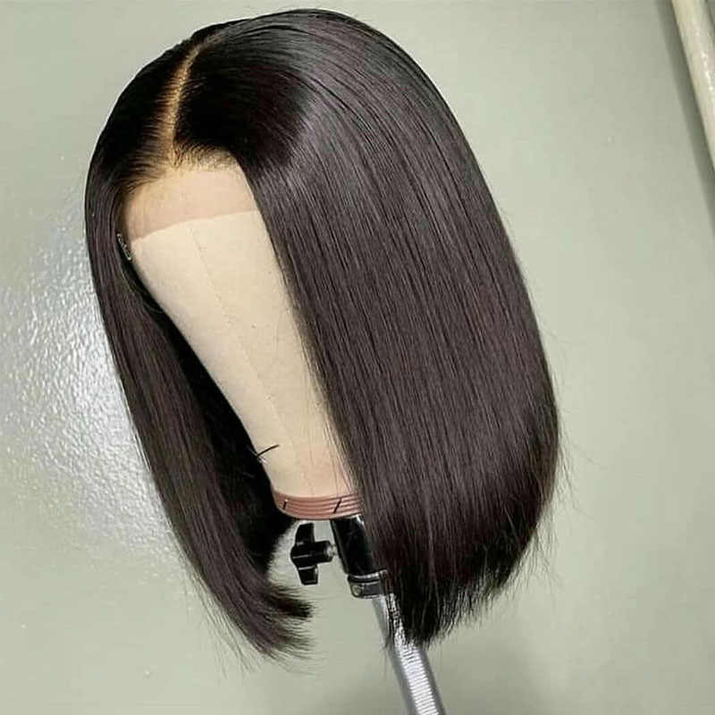 Pelucas de pelo humano Frontal de encaje corto predesplumado recto 13x4 Bob pelucas delanteras de encaje Atina Remy encaje brasileño Frontal para las mujeres negras