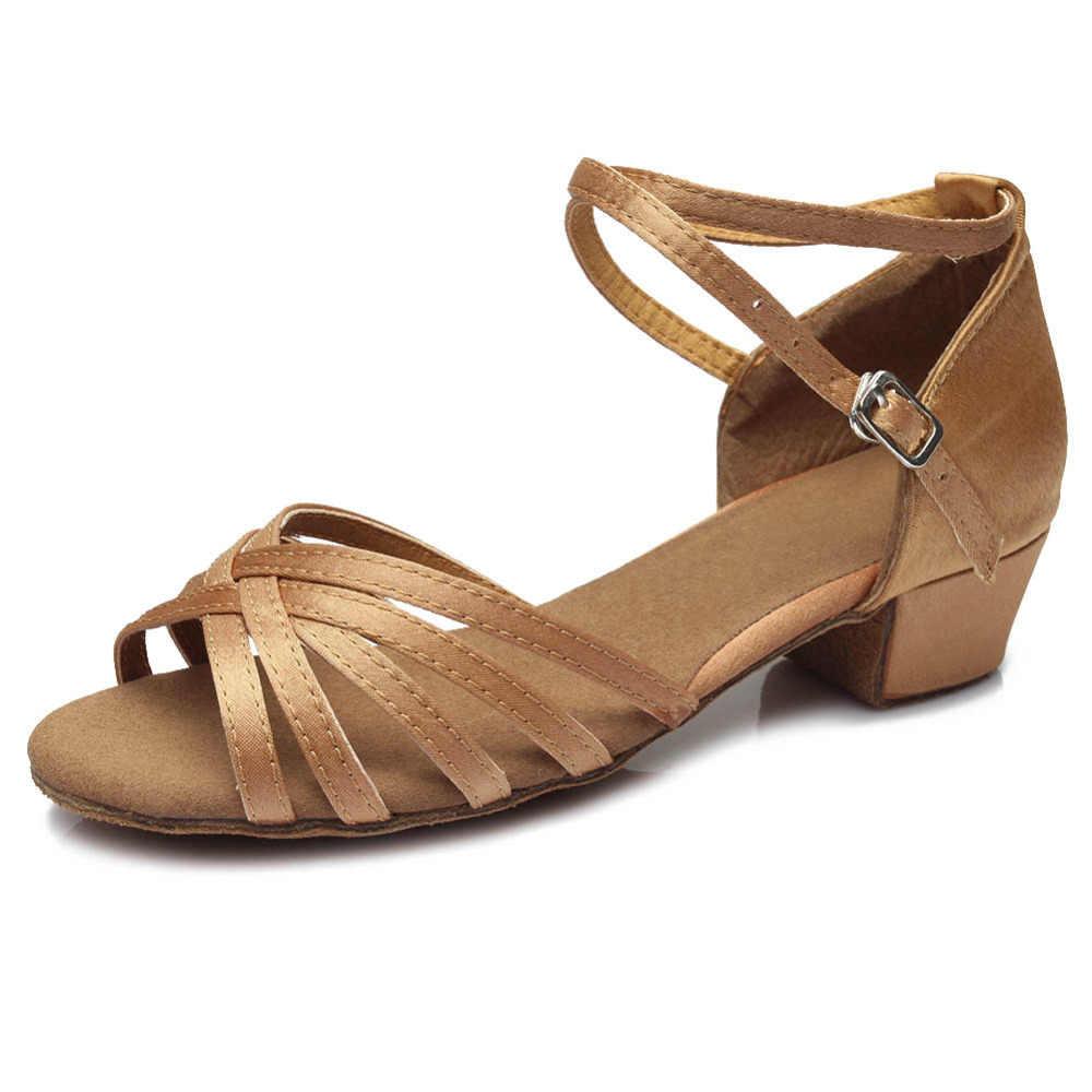 Yeni kadın Latin dans ayakkabıları balo salonu Tango dans ayakkabıları bayanlar kızlar için çocuk/çocuk Salsa düşük topuk kutup 17-25cm toptan parti