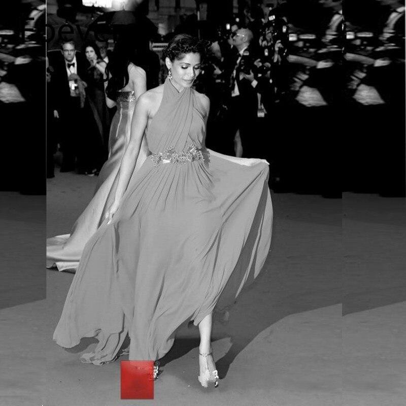 BONJEAN New Red Chiffon Halter Evening Dress 2019 Sexy Sleeveless Beach Party Prom Dresses With Crystal Beading Robe de Soiree