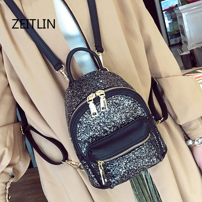 Womens Sequins Pu Leather Backpack children backpacks mini Bag fashion small back pack for teenage girls T1579