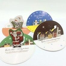 10 Uds. Tarjetas de felicitación clásicas con oso adorable Feliz Navidad con sobres y pegatinas regalos de navidad postales de recuerdo recicladas