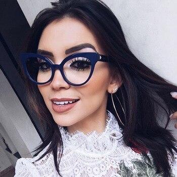 Mujer óptico Gafas de Metal piernas y acetato de borde gafas para mujeres prescripción gafas estilo ojo de gato