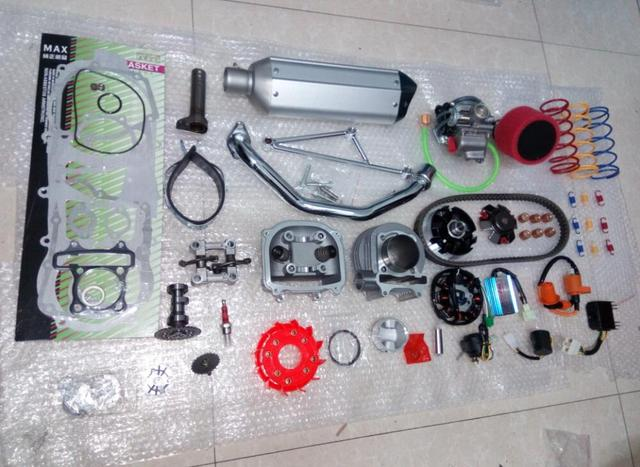52.4mm Chinese Scooter 125 cc 152 QMi GY6 A9 Cam, Racing CDI & Coil Exhaust as shown in figure