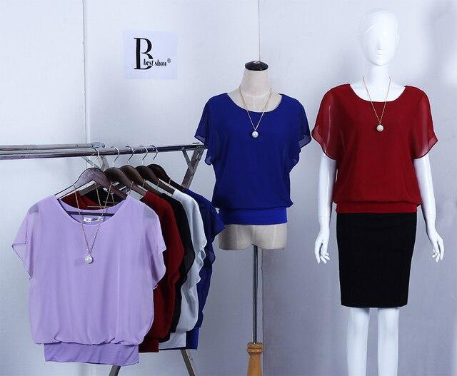New Womens Tops Fashion 2018 Women Summer Chiffon Blouse Plus Size Ruffle Batwing Short Sleeve Casual Shirt Black White Red Blue 3