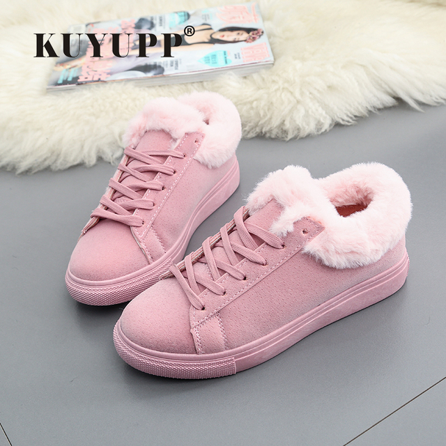 Women Flats For Winter Plush Warm Shoes Casual Flat Heels Lace Up Ladies Shoes Size 35-40 Black Gay Pink Fashion Fur Shoes NX5