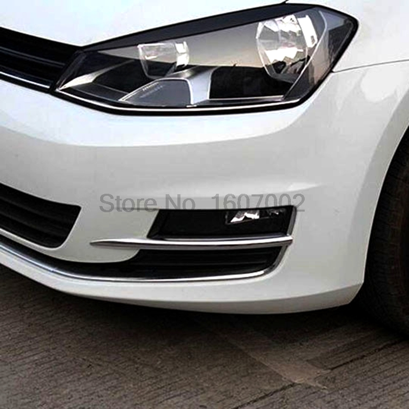 For Volkswagen Golf 7 MK7 2014 2015 2pcs Chromed Car Front Fog Light Lamp Shade Cover Trim Bezel Molding Strip Sticker