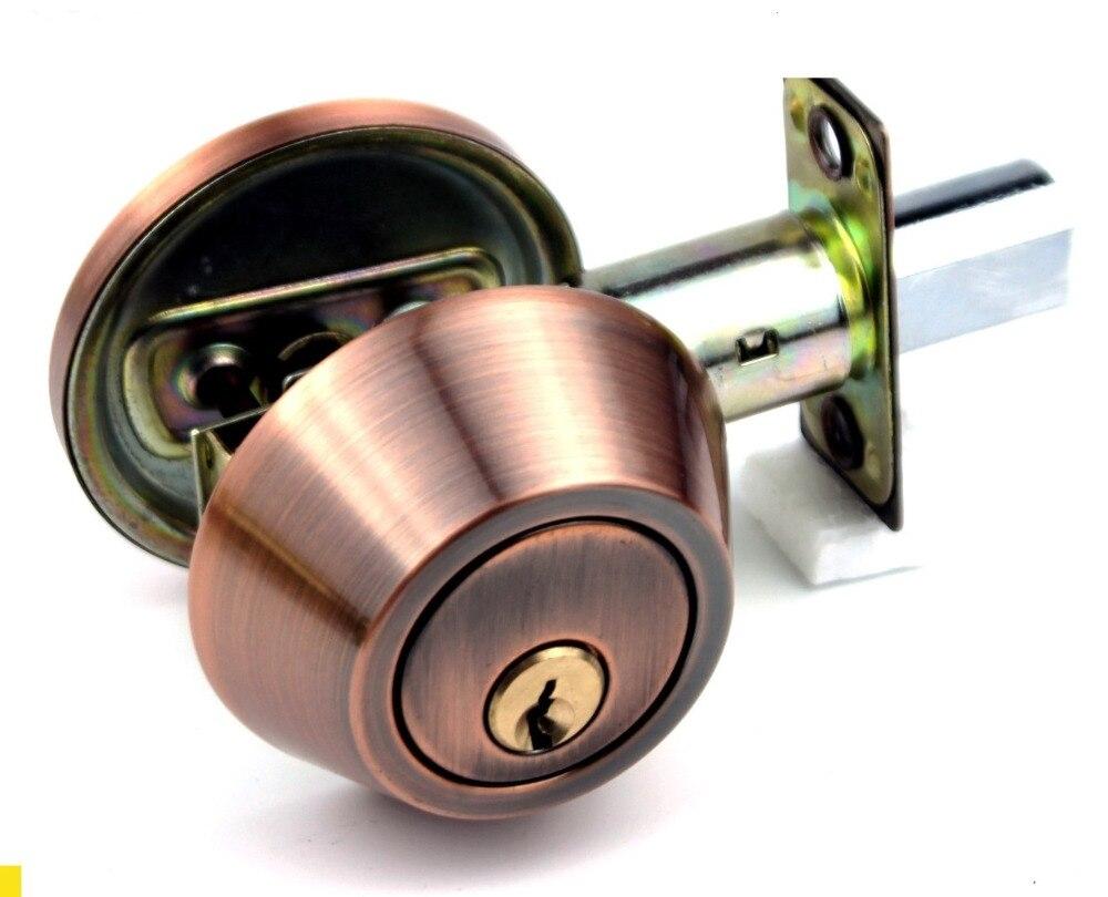 House Bedroom Metal Round Knob Security Door Gate Lock Set w Keys warehouse door gate 60mm metal security lock padlock lengthening lock w 4 pcs keys