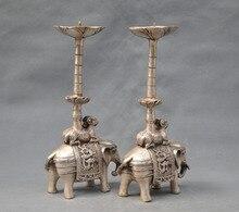 10 China Silver Bronze pair elephant candle stick Statue art  Decoration 100% real Tibetan Brass