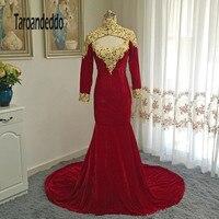 מעמד צווארון זהב אדום קטיפה ארוכה שרוולים תחרה עם קריסטלים Applique שמלה לנשף גב פתוח בת ים שמלת ערב vestidos דה
