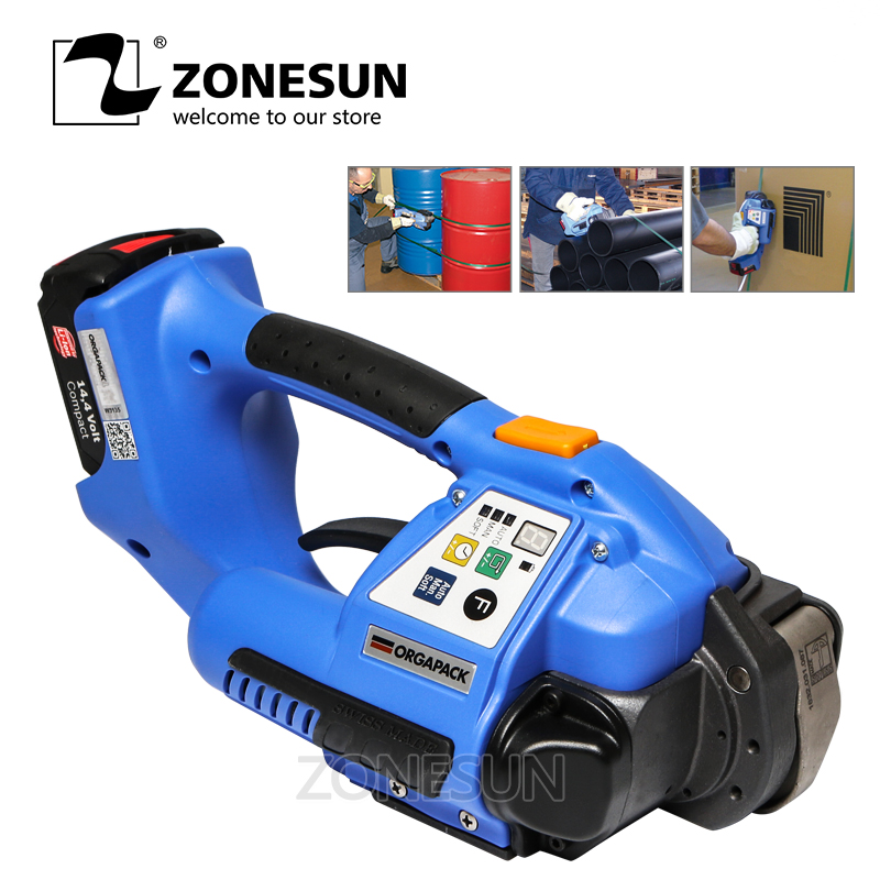 ZONESUN Strapping Machine 110v or 220v ORT 250 Battery Powered Plastic Strapping Tool Machine small bottle filling machine